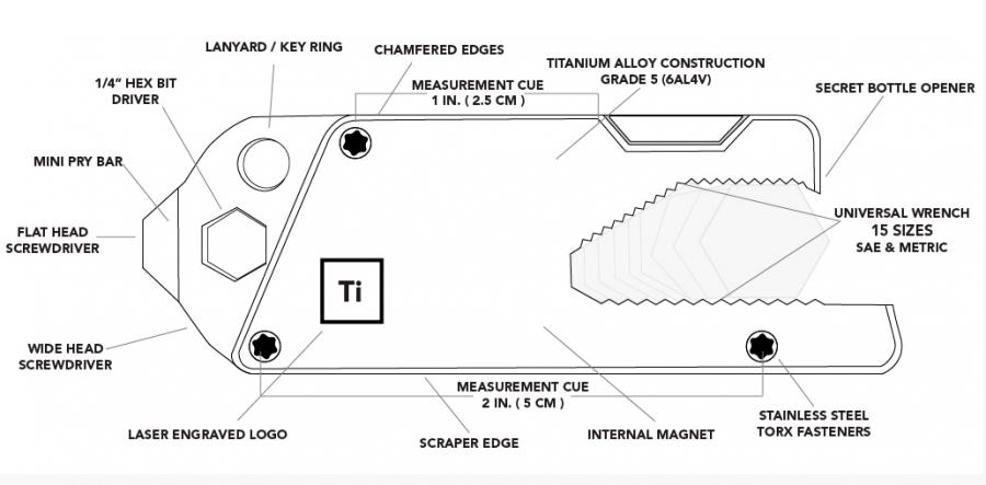Big Idea Design 13-IN-1 TITANIUM TOOL
